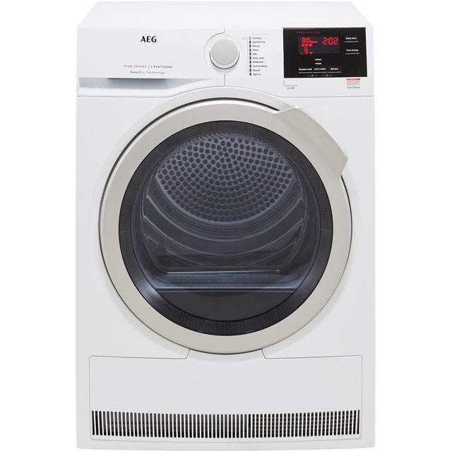 AEG SensiDry Technology T7DBG832R Free Standing Condenser Tumble Dryer in White