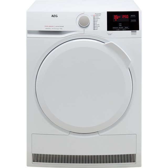 AEG SensiDry Technology T7DBG840N 8Kg Heat Pump Tumble Dryer - White - A++ Rated
