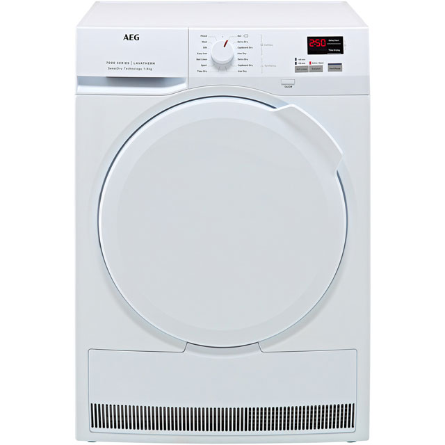 AEG SensiDry Technology T7DBK840N Heat Pump Tumble Dryer - White - T7DBK840N_WH - 1