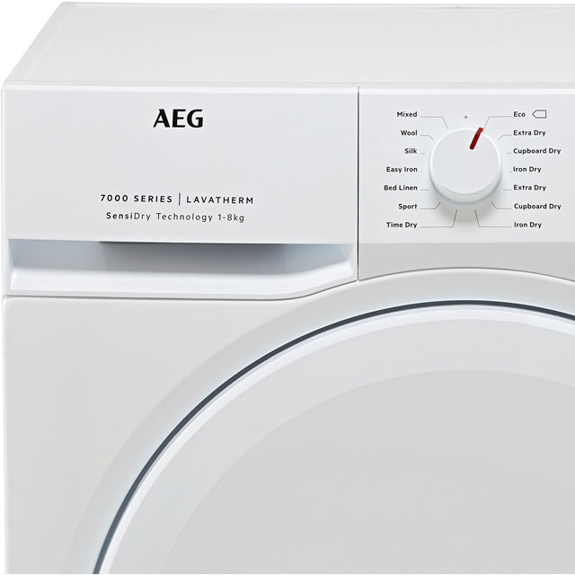 AEG SensiDry Technology T7DBK840N Heat Pump Tumble Dryer - White - T7DBK840N_WH - 2