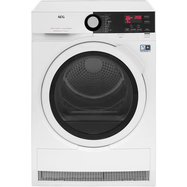 AEG AbsoluteCare Technology T8DBE941R Free Standing Condenser Tumble Dryer in White