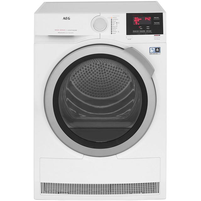 AEG AbsoluteCare Technology T8DBG842R Free Standing Condenser Tumble Dryer in White