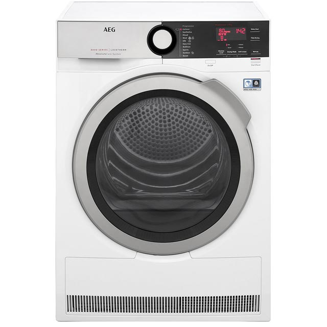 AEG AbsoluteCare Technology T8DEE845R 8Kg Heat Pump Tumble Dryer - White - A++ Rated - T8DEE845R_WH - 1