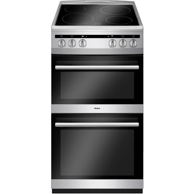 Amica AFC5100SI 50cm Electric Cooker with Ceramic Hob - Stainless Steel - A/A Rated Best Price, Cheapest Prices