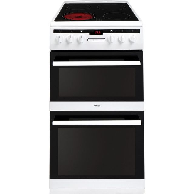 Amica AFC5550WH 50cm Electric Cooker with Ceramic Hob - White - A/A Rated Best Price, Cheapest Prices