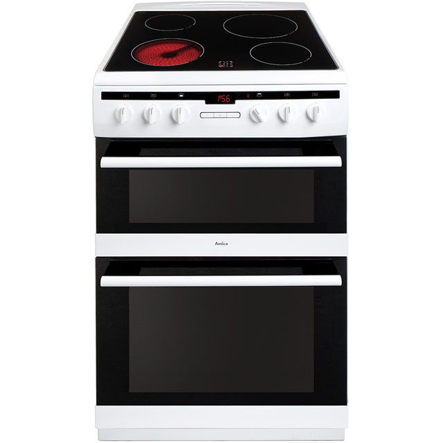 Amica AFC6550WH Electric Cooker with Ceramic Hob - White - A/A Rated
