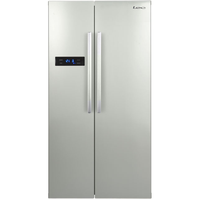 Lec Free Standing American Fridge Freezer in Silver