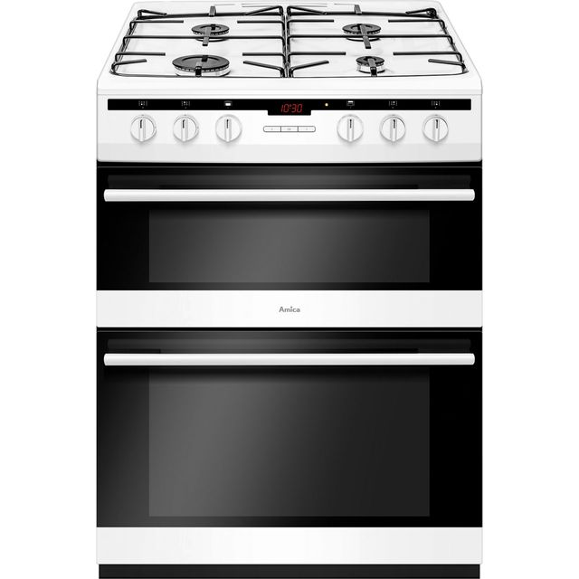 Amica AFG6450WH Gas Cooker with Full Width Gas Grill - White - A/A Rated - AFG6450WH_WH - 1