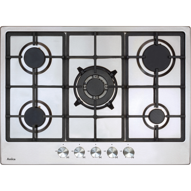 Amica AGH7100SS 68cm Gas Hob - Stainless Steel - AGH7100SS_SS - 1