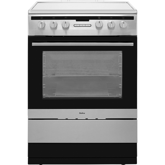 Amica 608CE2TAXX 60cm Electric Cooker with Ceramic Hob - Stainless Steel - A Rated Best Price, Cheapest Prices