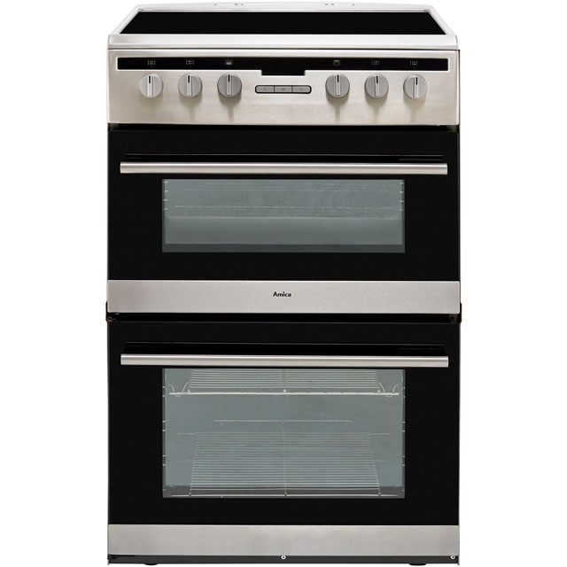 Image of Amica AFC6550SS 60cm Electric Cooker with Ceramic Hob - Stainless Steel - A/A Rated