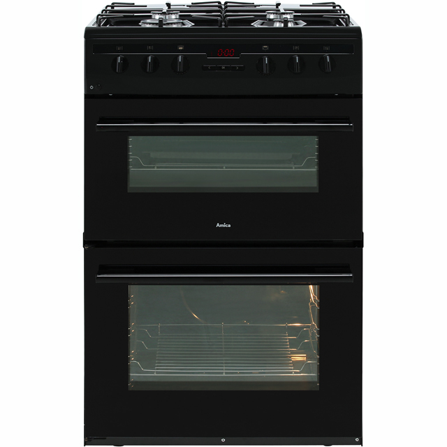 Amica AFG6450BL Gas Cooker with Full Width Gas Grill - Black - A/A Rated - AFG6450BL_BK - 1