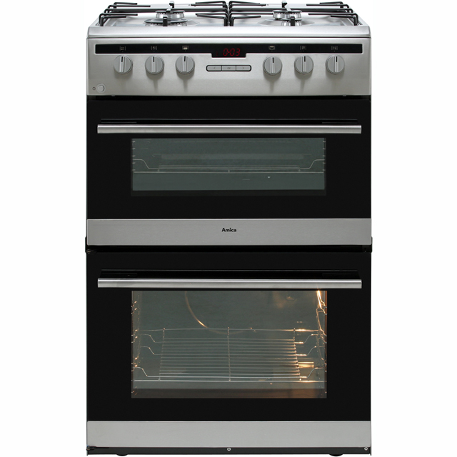 Amica AFG6450SS 60cm Gas Cooker with Full Width Gas Grill - Stainless Steel - A/A Rated - AFG6450SS_SS - 1