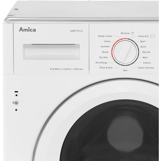 Amica AWDT814S Built In 8Kg / 6Kg Washer Dryer - White - AWDT814S_WH - 3