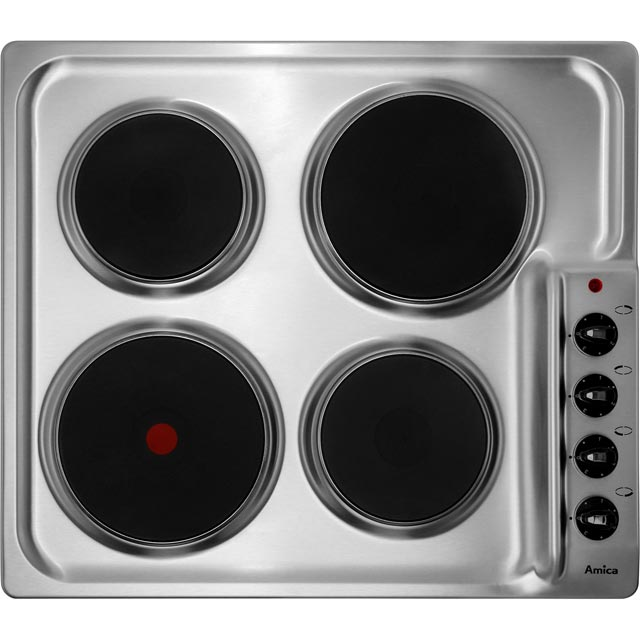 Amica PG4ES11 Built In Solid Plate Hob - Stainless Steel - PG4ES11_SS - 1