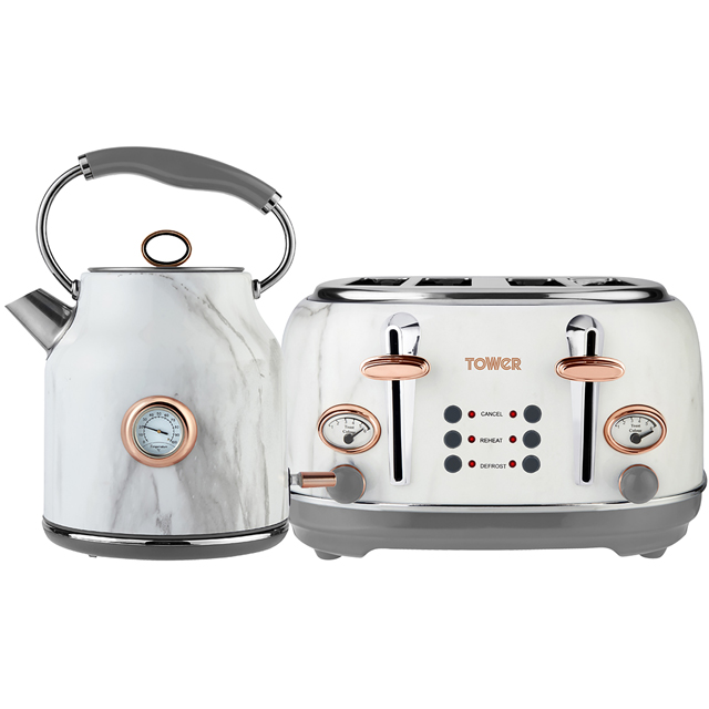 Tower AOBUNDLE002 Kettle And Toaster Set in Stainless Steel White Marble Rose Gold