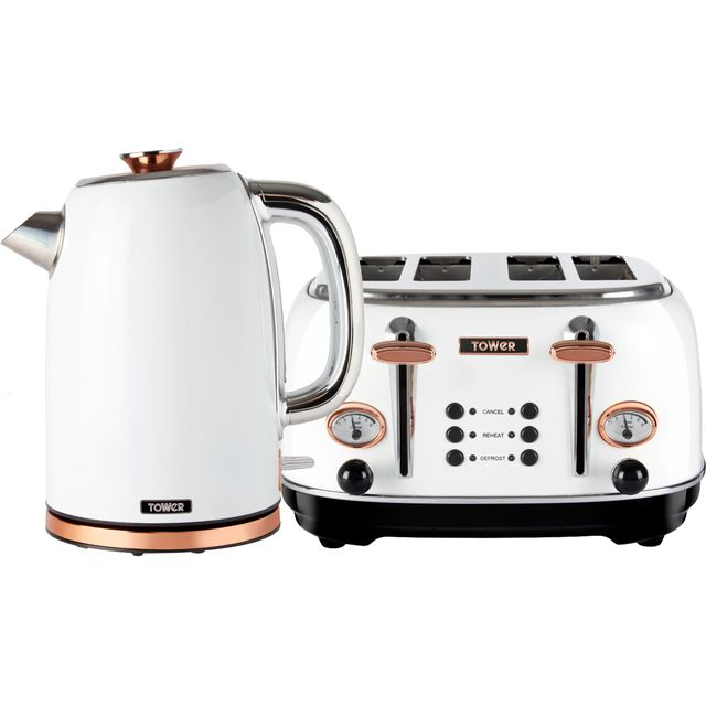 Tower AOBUNDLE003 Kettle And Toaster Set in White / Rose Gold