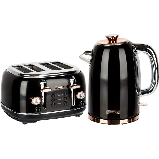 Tower AOBUNDLE004 Kettle And Toaster Set - Black / Rose Gold