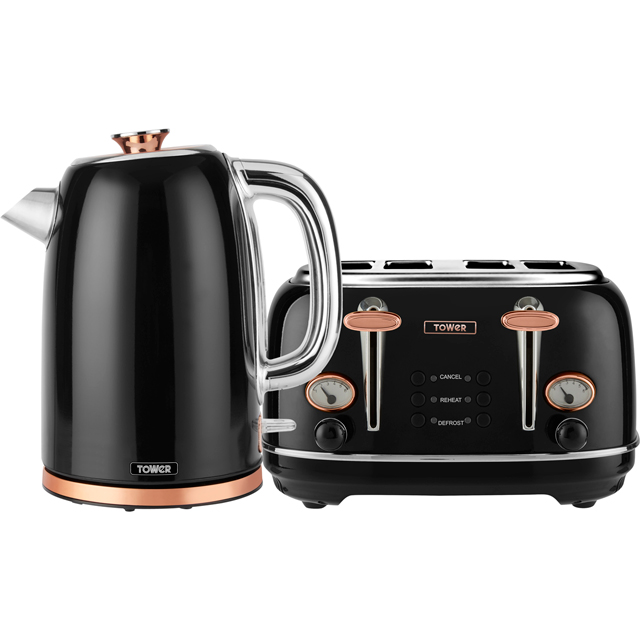 Tower AOBUNDLE004 Kettle And Toaster Set in Black / Rose Gold