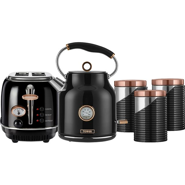 Tower AOBUNDLE005 Kettle And Toaster Set in Black / Rose Gold