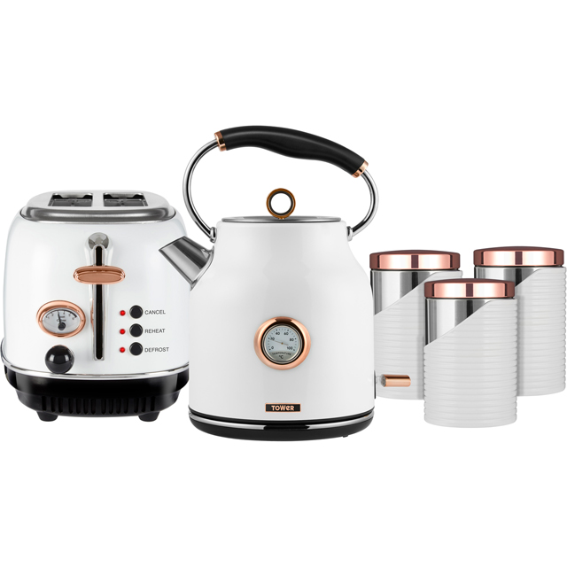 Tower AOBUNDLE008 Kettle And Toaster Sets - White / Rose Gold - AOBUNDLE008_RGW - 1