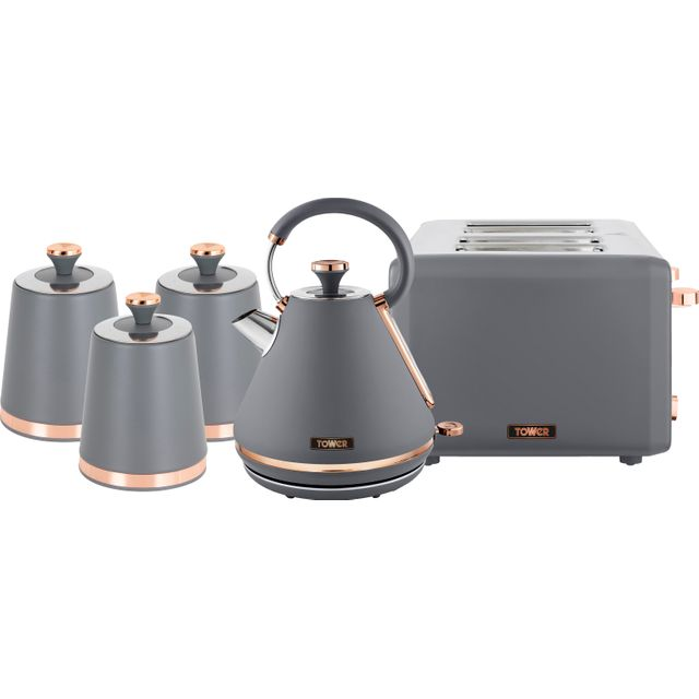 Tower Cavaletto AOBUNDLE021 Kettle And Toaster Set - Grey / Rose Gold