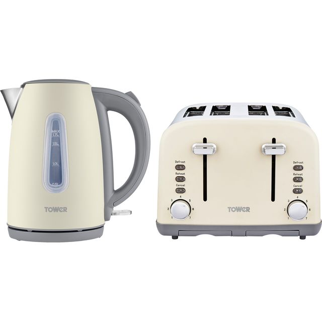 Tower AOBUNDLE022 Kettle And Toaster Set - Pebble