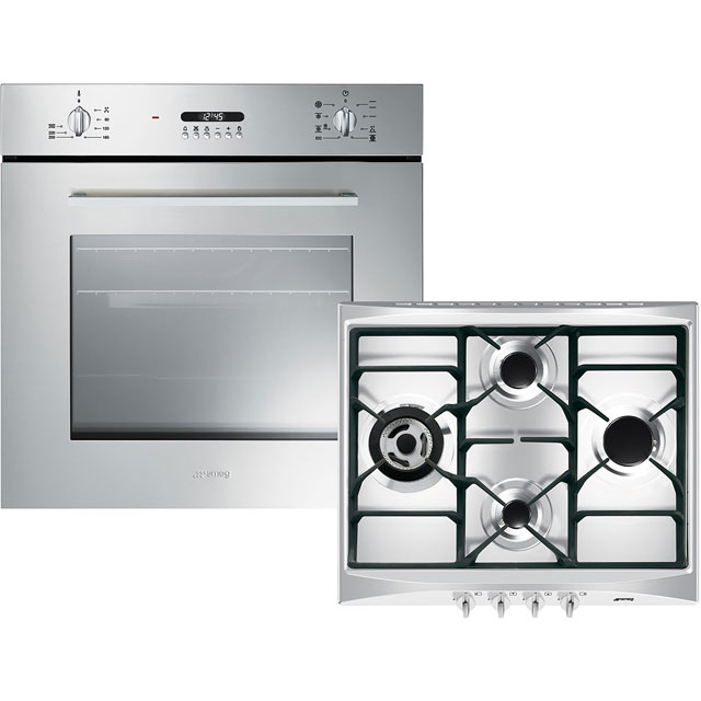 Smeg Cucina AOSF478G Built In Electric Single Oven and Gas Hob Pack - A Rated