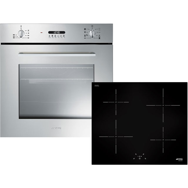Smeg Cucina AOSF478I Built In Electric Single Oven and Induction Hob Pack - Stainless Steel / Black - A Rated