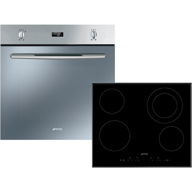 Smeg Cucina AOSF585C Built In Electric Single Oven and Ceramic Hob Pack - Stainless Steel / Black - A Rated