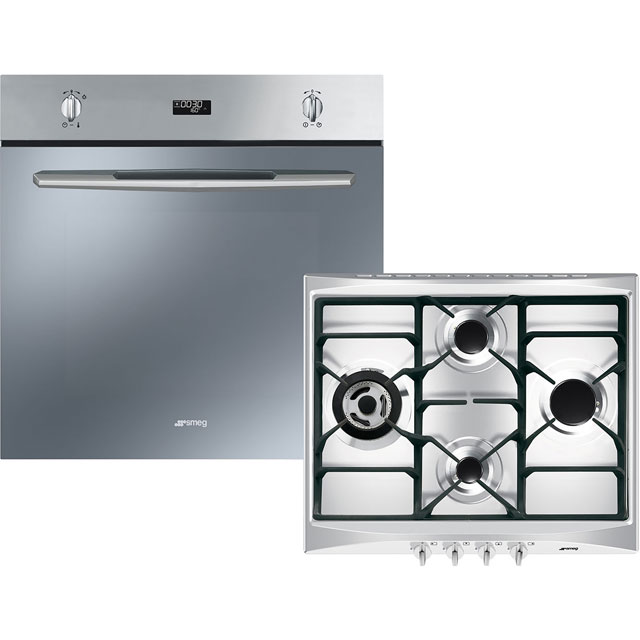 Smeg Cucina AOSF585G Built In Electric Single Oven and Gas Hob Pack - A Rated