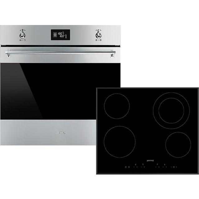 Smeg Classic AOSF6390C Built In Electric Single Oven and Ceramic Hob Pack - Stainless Steel / Black - A+ Rated