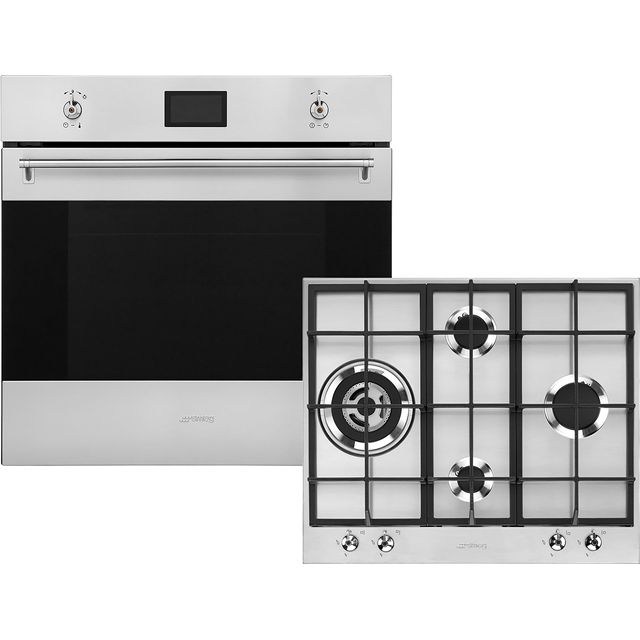 Smeg Classic AOSF6390G2 Built In Electric Single Oven and Gas Hob Pack - Stainless Steel - A+ Rated - AOSF6390G2_SS - 1