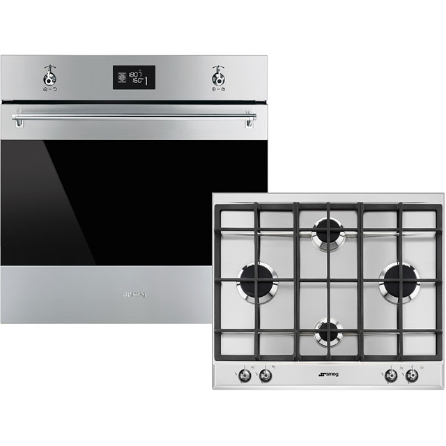 Smeg Classic AOSF6390G Built In Electric Single Oven and Gas Hob Pack - Stainless Steel - A+ Rated