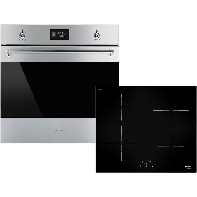 Smeg Classic AOSF6390I Built In Electric Single Oven and Induction Hob Pack - Stainless Steel / Black - A+ Rated - AOSF6390I_SSB - 1