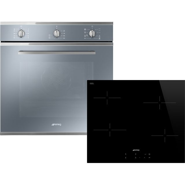 Smeg Cucina AOSF64M3C Built In Electric Single Oven and Ceramic Hob Pack - Stainless Steel / Black - A Rated - AOSF64M3C_SSB - 1