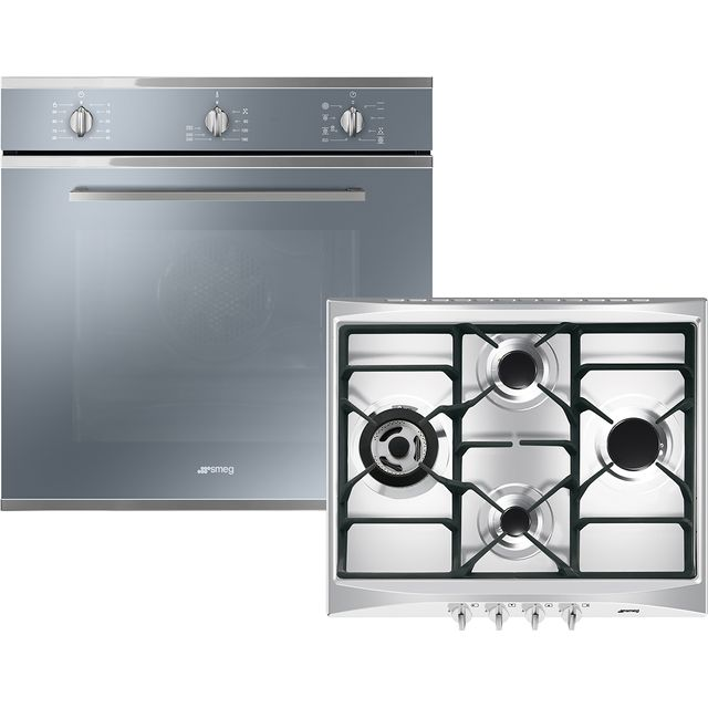 Smeg Cucina AOSF64M3G Built In Single Ovens & Gas Hobs - Stainless Steel - AOSF64M3G_SS - 1
