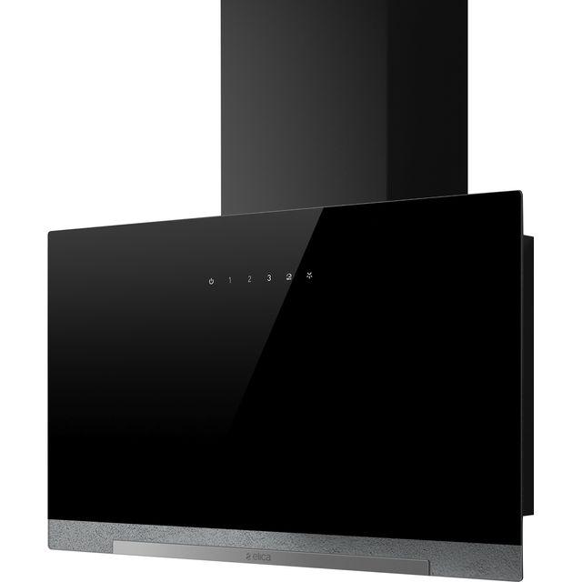 Image of Elica APLOMB-BLK-60 60 cm Chimney Cooker Hood - Black Glass - A Rated