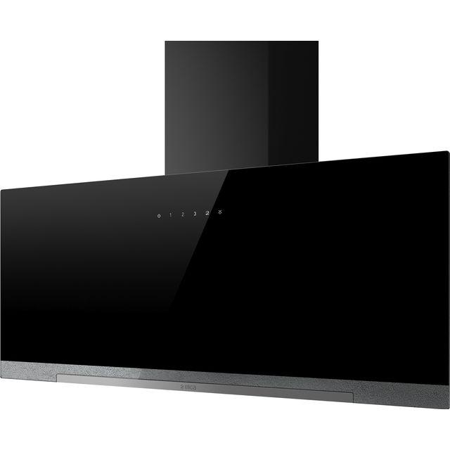 Image of Elica APLOMB-BLK-90 90 cm Chimney Cooker Hood - Black Glass - A Rated
