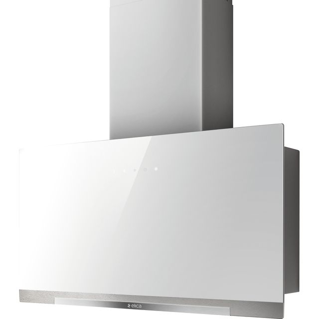 Image of Elica APLOMB-WH-60 60 cm Chimney Cooker Hood - White Glass - A Rated