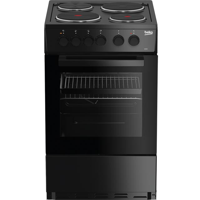 Beko AS530K 50cm Electric Cooker with Solid Plate Hob - Black - A Rated - AS530K_BK - 1