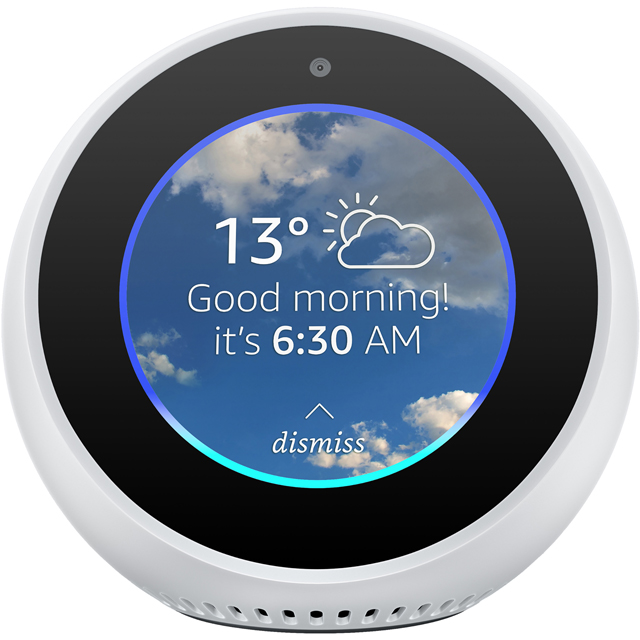 "Amazon Echo Spot Smart Speaker with Alexa - 2.5"" Screen - White - B074BJ5JLB - 1"