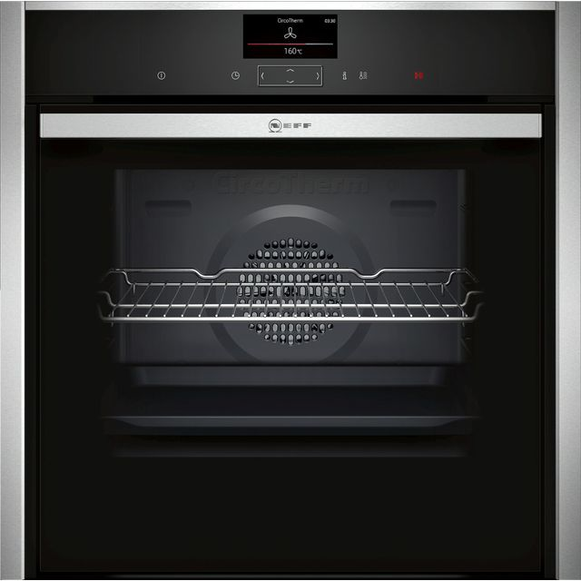 NEFF N90 Slide&Hide B47CS34H0B Wifi Connected Built In Electric Single Oven - Stainless Steel - A Rated - B47CS34H0B_SS - 1