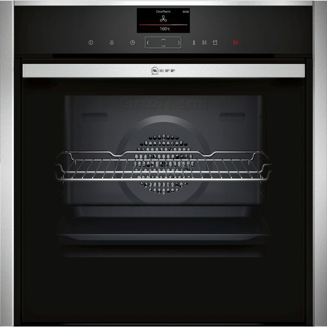 NEFF N90 Slide&Hide B47FS34H0B Wifi Connected Built In Electric Single Oven with added Steam Function - Stainless Steel - A+ Rated - B47FS34H0B_SS - 1
