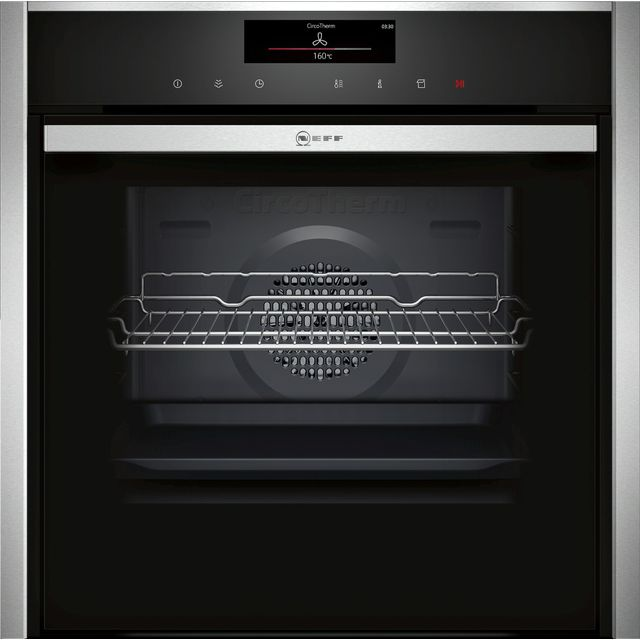 NEFF N90 Slide&Hide B48FT78H0B Wifi Connected Built In Electric Single Oven with added Steam Function - Stainless Steel - A+ Rated - B48FT78H0B_SS - 1