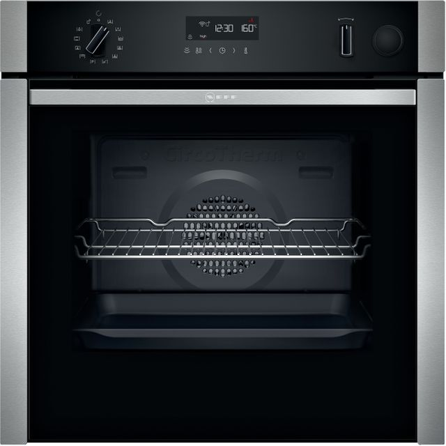 NEFF N50 Slide&Hide® B5AVH6AH0B Built In Electric Single Oven with added Steam Function - Stainless Steel - A Rated