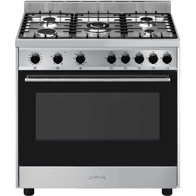 Smeg Cucina B90GVXI9 90cm Gas Range Cooker - Black / Stainless Steel - A Rated - B90GVXI9_BSS - 1
