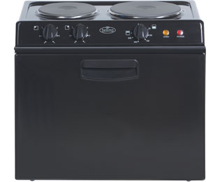 Belling BABY121R Electric Cooker with Solid Plate Hob - Black Best Price, Cheapest Prices