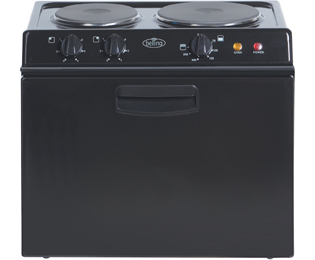 Belling BABY321R Electric Cooker with Solid Plate Hob - Black Best Price, Cheapest Prices