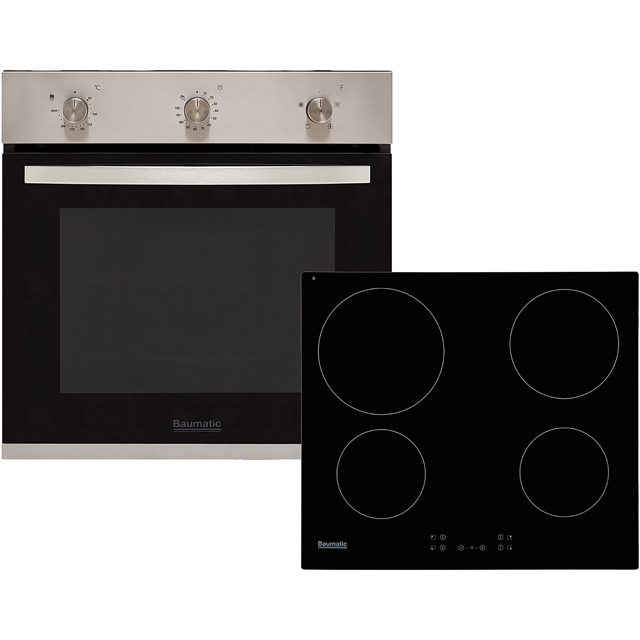 Baumatic BCPK605X Built In Electric Single Oven and Ceramic Hob Pack - Stainless Steel / Black - A+ Rated - BCPK605X_SSB - 1